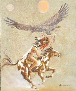 Native American warrior on horse eagle sand & oil painting signed Evans mystery