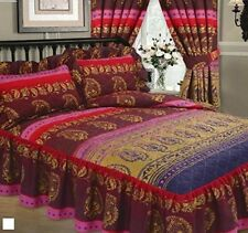 DOUBLE BED EXOTIC KASHMIR MAROON GOLD & PINK QUILTED BEDSPREAD THROW OVER SET