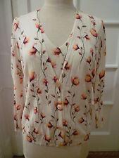 SAKS FIFTH AVENUE CLASSIC Floral Print Twin Set, Medium Shell/XL Cardigan