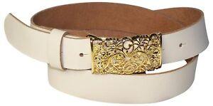 """FRONHOFER Women's genuine leather belt, gold floral buckle, 1.2""""/3cm"""