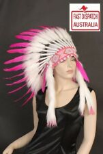 Indian Feather Headdress Quality pure white/pink  War Bonnet...spectacular