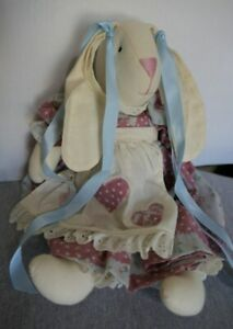 "Handmade 15"" Stuffed Country Bunny Rabbit w Floral Dress, Pinafore & Pantaloons"
