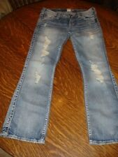 """NEW SILVER JEANS FRANCES 18"""" BOOTCUT FACTORY DISTRESSED LIGHT WASH - SIZE 27/29"""