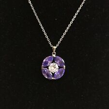 NWT 18k White Gold Plated Round Flower Crystal Gem Purple Amethyst Necklace