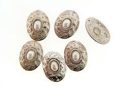 Vintage Silver Plate Lucite Pearl Cabochon Conch Design Charm Drop Pendants Lot