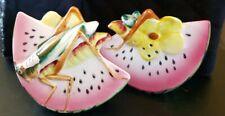 Vintage Grasshoppers on Watermelons Salt & Pepper Shaker Set Japan