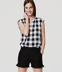 "Ann Taylor LOFT - 2 (XS) - NWT $59 - Solid Black Linen/Cotton 4"" Fringe Shorts"