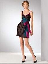 MARC JACOBS Dress Aspen Brown Satin Avery Colorblock Obi Bow Sz 12 L New $548