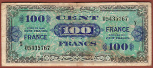 France 100 cents 1944  Note Allied Currency AMC WWII  Replacement X 05435767 !!!
