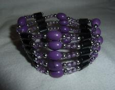 Vintage style magnetic hematite stones bracelet / necklace grey & purple colors