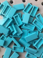 Lego Tile Medium Azure Blue 1x2 Flat Tiles Smooth Finish Buildings Roof Floor 50