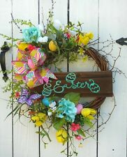 Easter Spring Grapevine Floral Wreath Eggs Summer Arrangment Bunny Decorations