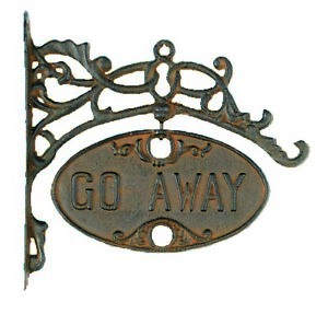 Antique Vtg Style Cast Iron Go Away & Welcome Hanging House Garden Sign Decor