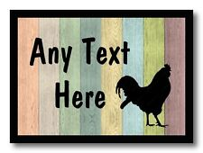 Rooster Chicken Hen Pastel Wood Personalised Dinner Table Placemat