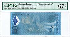 Solomon Islands 40 Dollars 2018 PMG 67 EPQ s/n SI/40 006660 POLYMER