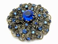 VINTAGE CZECH LARGE GOLD TONE FILIGREE SAPPHIRE PASTE BROOCH PIN Gift Boxed
