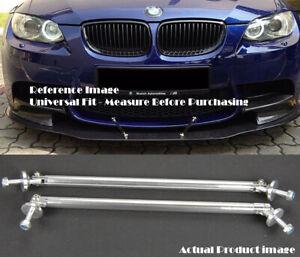 "2 x Silver 9.5"" Bumper Lip Diffuser Splitter Spoiler Support Rod Bar for BMW"