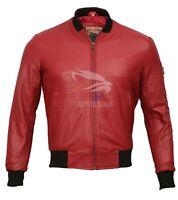 Mens Biker Motorcycle Vintage Distressed Burgundy Bomber Real Leather Jacket