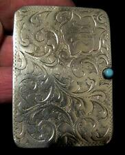 Edwardian Silver Double Stamp Case with Turquoise button detail date mark 1905