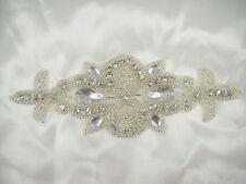 Gorgeous Wedding Applique Rhinestone Bridal Applique Beaded Motif Diamante Trim