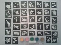 Filles mini-petit tatouage paillettes ensemble incl. pochoirs + paillettes + col