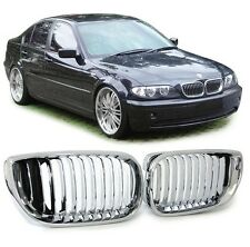 2 GRILLE DE CALANDRE CHROME BMW SERIE 3 E46 BERLINE PHASE 2 DE 10/2001 A 03/2005