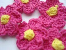 """50 Hand Crochet Daisy 1"""" Flower/sewing/trim/bow/yarn/knit/Fuchsia C6-Hot Pink"""