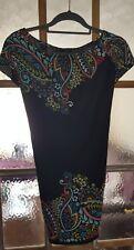 Dorothy perkins Size 14 Top Tunic Dress Retro Hippie Style Boho Black Pattern