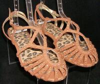 Gianni Bini brown fabric studded strappy buckle slingback sandal flats 8.5M
