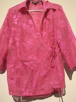 Rockman's Sheer Wrap Side Tie Shirt Blouse Pink With Sheen Size 12-14