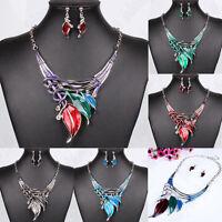 Fashion Women Jewelry Pendant Leaf Choker Chunky Statement Chain Bib Necklace