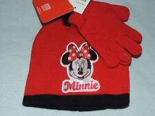 DISNEY MINNIE MOUSE RED BEANIE HAT & MITTENS NEW!