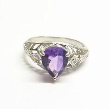 Amethyst and Diamond Ring Sterling Silver Genuine Semi-precious Gemstones Size N