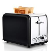 Retro 2 Slice Toaster Electric Wide Slots Bread Browning Settings Black TOBOX US