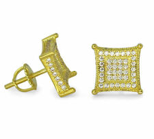 Mens 10mm Kite Studs 14k Gold Plated Micro Pave Cz Hip Hop Screw Back Earrings