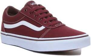 Vans Ward Youth Lace Up Canvas Trainer In Burgundy Size UK 3 - 6