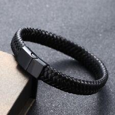 Black Men Stainless Steel Metal Leather Braided Bracelet Rope Chain Bangle Gift