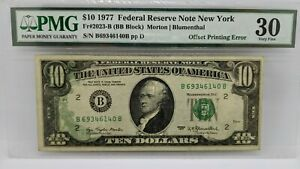 1977 $10 Federal Reserve Note New York PMG 30 - Offset Printing Error