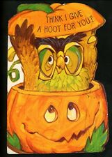 Halloween Modern Postcard Die Cut Greetings Card JOL owl pumpkin embossed