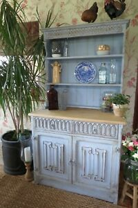 Rustic, farmhouse Kitchen dresser, display cabinet in Blue.