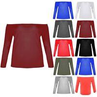 Plus Size Womens Off The Shoulder Bardot T Shirt Ladies Slash Neck Jersey Top