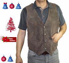 Men's genuine soft suede brown leather snap closure western/biker vest