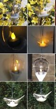 Glass Light decoration kit Hanging lamp bird + LED tealight glitter sand garden