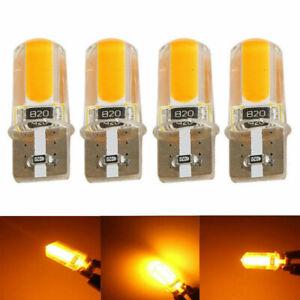 Pair W5W 168 T10 COB 3W LED  Amber Yellow Orange CANBUS ERROR Wedges Bulb