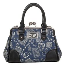Licensed Dr. Who Scribble Art Kiss-Lock Convertible Cross Body Satchel Hand Bag