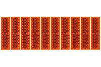 10 x Reflektor 63 x 18 x 5,2mm ORANGE ECKIG Rückstrahler Selbstklebend Anhänger