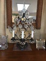 Gorgeous  French Girandole Wrought Iron Lamp W/Floral Prisms