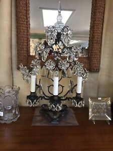 Gorgeous  French Girandole Wrought Iron Lamp W/Floral Prisms