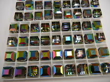 6 vintage swarovski crystal cube shape beads,12mm vitrail medium #5601