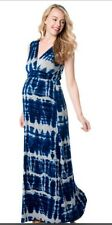 Motherhood Maternity Tie Dye Dress BLUE  Size Small NWOT V Neck Maxi